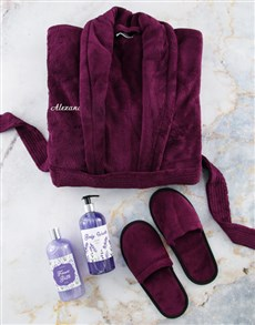 gifts: Personalised Purple Gown and Bath Set!