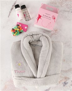 gifts: Personalised Kids Grey Flower Bath Time Set!