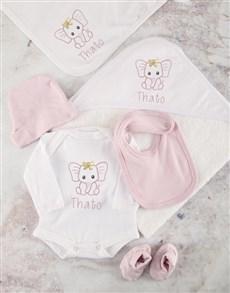 gifts: Personalised Pink Ellie Baby Bath Set!