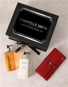 gifts: Personalised Red Purse And Charlotte Rhys Hamper!