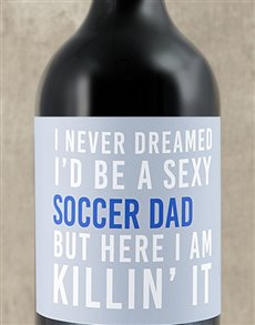 gifts: Personalised Soccer Dad Wine!