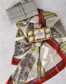 gifts: Personalised Grey Purse And Silk Scarf Gift Set!