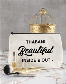 gifts: Personalised Beautiful In And Out Cosmetic Bag!