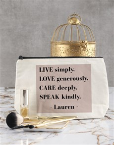 gifts: Personalised Live Simply Cosmetic Bag!