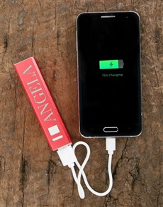 gifts: Personalised Red Powerbank!