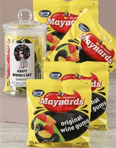 gifts: Personalised Womans Day Wine Gums Jar!
