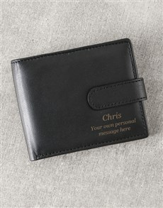 gifts: Personalised Initials Black Leather Wallet!