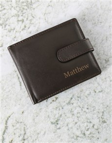 gifts: Personalised Tab Brown Leather Wallet!
