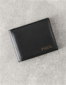 gifts: Personalised Black Billfold Leather Wallet!