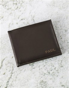 gifts: Personalised Suave Brown Leather Wallet!