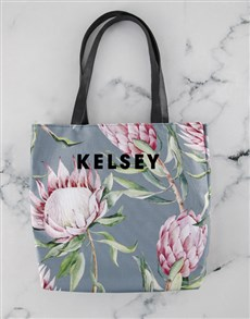 gifts: Personalised Pretty Protea Floral Tote Bag!
