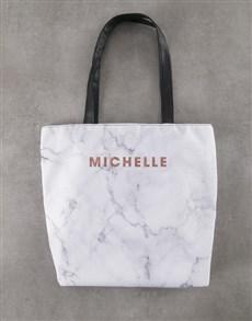 gifts: Personalised Elegant Marble Print Tote Bag !