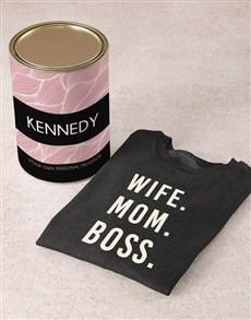 gifts: Personalised Wife Mom Boss Sweatshirt!