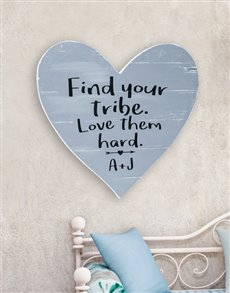 gifts: Personalised Find your Tribe Wooden Heart!