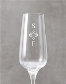 gifts: Personalised Floral Initials Champagne Flute!