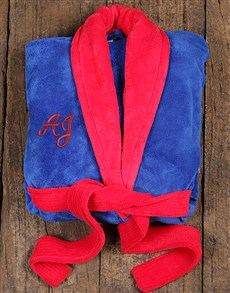 gifts: Personalised Red and Blue Fleece Gown!