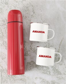 gifts: Personalised Red Flask And Mug Set!