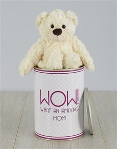 gifts: Personalised Amazing Mom Teddy Tin!