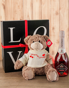 gifts: Large Personalised Teddy with Non Alcholic Bubbly!
