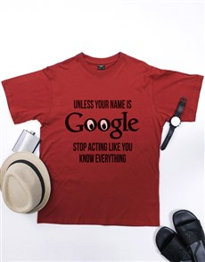 gifts: Personalised Red Google T Shirt!