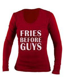 gifts: Personalised Red Fries Ladies Longsleeve T Shirt!