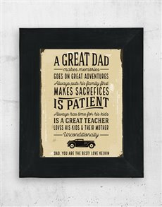 gifts: Personalised Great Dad Artwork in Black Frame!