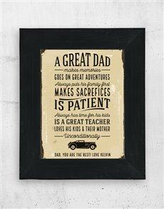gifts: Personalised Great Dad Artwork in Black Frame!