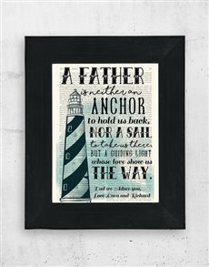 gifts: Personalised Father Anchor Artwork in Black Frame!