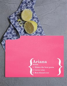 gifts: Personalised Name Definition Glass Chopping Board!
