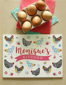 gifts: Personalised Checkered Chicks Glass Chopping Board!