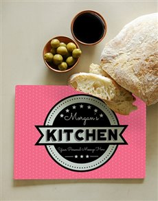 gifts: Personalised Kitchen Pink Glass Chopping Board!