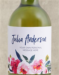 gifts: Personalised Watercolour Floral White Wine!