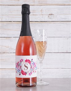 gifts: Personalised Floral Initial Sparkling Rose!