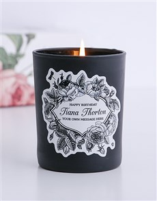 gifts: Personalised Black Vintage Happy Birthday Candle!