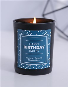 gifts: Personalised Black Triangle Happy Birthday Candle!