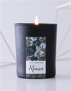gifts: Personalised Black Vintage Rose Birthday Candle!
