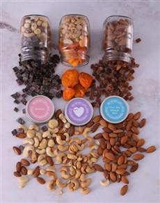 gifts: Personalised Happy Heart Fruit n Nut Jar Trio!