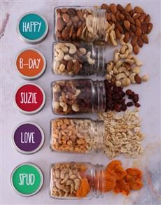 gifts: Personalised Bday Fruit n Nut Jar Hamper!