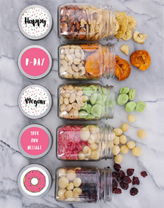 gifts: Personalised Bday Sprinkles Fruit n Nut Jar Hamper!