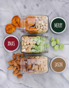 gifts: Personalised Merry Xmas Fruit n Nut Jar Trio!