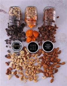 gifts: Personalised Striped Xmas Fruit n Nut Jar Trio!