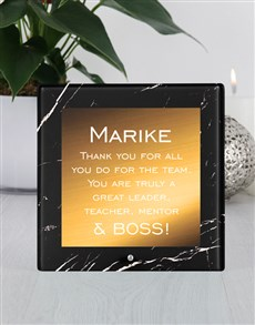 gifts: Personalised Great Leader Glass Tile!