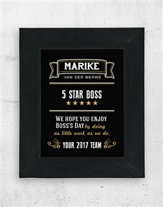 gifts: Personalised Five Star Boss Black Frame!