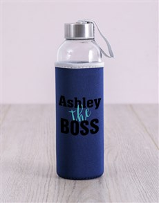 gifts: Personalised Black The Boss Water Bottle!