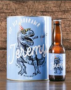 gifts: Personalised TRex Birthday Craft Beer!