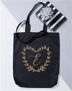 gifts: Personalised Intial Heart Wreath Tote Bag!