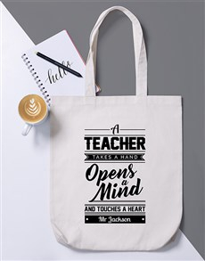 gifts: Personalised Teacher Opens Mind Tote Bag!