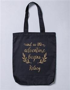gifts: Personalised Adventure Begins Tote Bag!