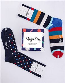 gifts: Personalised Spots n Stripes Happy Socks  Giftbox!
