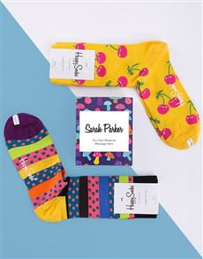 gifts: Personalised Cherry Happy Socks  Giftbox!